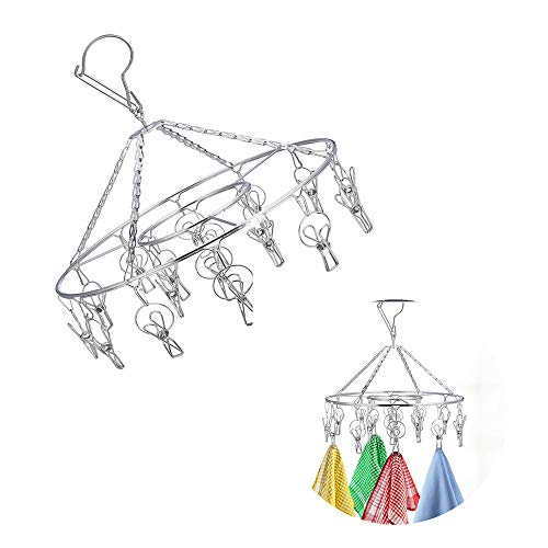 ZYZ Stainless Steel Wire Hanging Drying Rack Laundry Drip Hanger with 20 Clips for Drying Socks Baby Clothes Bras Towel Underwear Hat Scarf Pants Gloves
