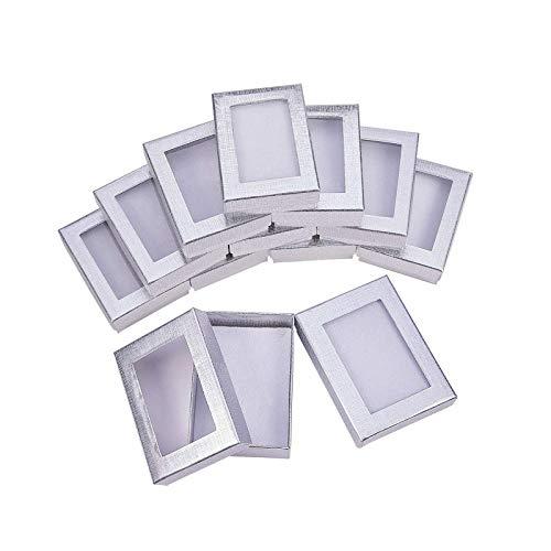 litulituhallo Cajas de regalo plateadas, caja de presentación con relleno para collar de cumpleaños, pendientes, cartón, 10 unidades, 10 unidades