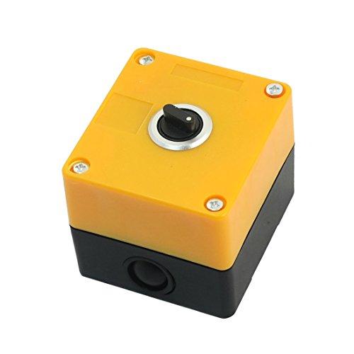 Aexit AC220V 5A Rectángulo Amarillo Caja de plástico DPDT 2NO 2NC Interruptor de selector giratorio de 3 posiciones de 6 clavijas (model: I3187XIII-2050JN) Caja de control