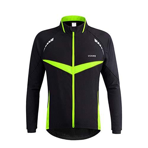 Chaqueta de forro polar para hombre de otoño e invierno resistente al viento y cálido de manga larga para deportes al aire libre chaqueta de ciclismo ropa cálida (verde,XL)