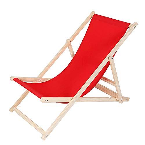 Melko Faltliege Camping Liegestuhl klappbar Stuhl aus Holz ohne Armlehne Klappliegestuhl Rot