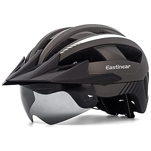EASTINEAR Casco Bici con Visiera Luce di LED Casco MTB per Adulto Uomo Donna Casco Bici Mountain Bike con Occhiali Magnetici Misura Regolabile 57-61 CM (Ti)
