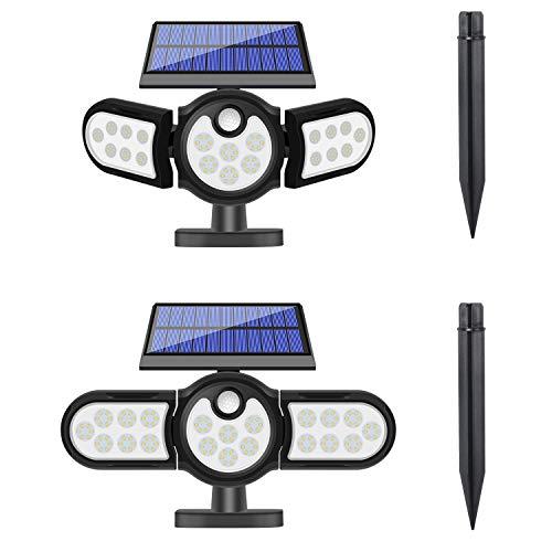 DIKAIDA 2 Pack Solar Security Lights, 140 LED Solar Motion Sensor Lights, 3 Adjustable Heads Solar Powered Outdoor Lights, IP65 Waterproof 270° Flood Light for Yard Patio Garage Entryway Front Door