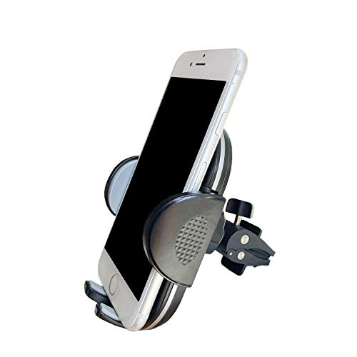 Air Vent Smartphone Car Mount, Fugetek Adjustable Phone Holder Cradle, Quick Release, Rotates, Compatible with iPhone & Android Phones (Black/Grey)