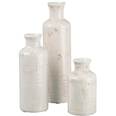Ceramic White Bottles - Set of 3