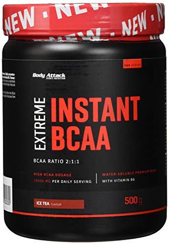 Body Attack - Extreme Instant BCAA Pulver, 500g für 38 Shakes mit 10000mg BCAAs, sofort löslich, vegan, BCAA-Verhältnis 2:1:1 (L-Leucin : L-Valin : L-Isoleucin), Produkt der Kölner Liste, Ice Tea