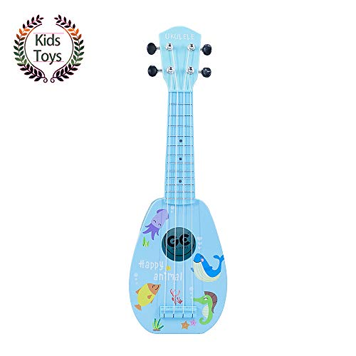 """YOLOPARK Mini Guitar Ukulele Toy for Kids, 4 Strings Keep Tones Can Play Not Electronic Ukulele, Children Musical Instruments Educational Toys for Beginner (Blue, 17"""")"""
