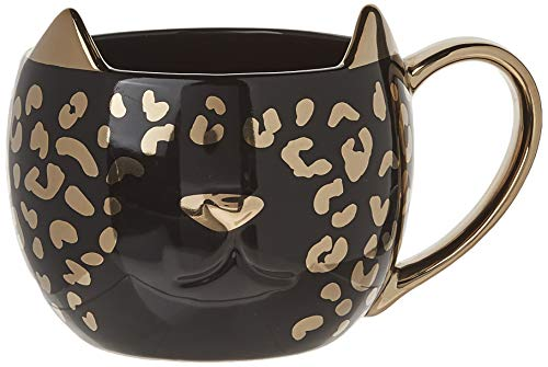 Pinky Up 9470 Chloe Leopard Mug, Black, Set of 1 Tea Cup, One,