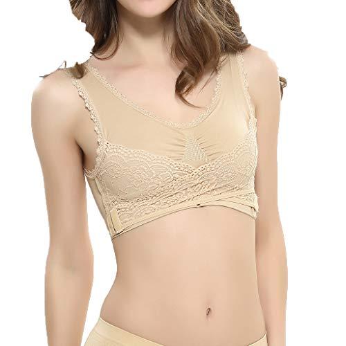 iHENGH Damen Sommer Top Bluse Bequem Lässig Mode T-Shirt Blusen Frauen Ladies'plain Farbe Front Cross Side Lace Sport BH Vollschalen BH Weste Tops(Beige, M)