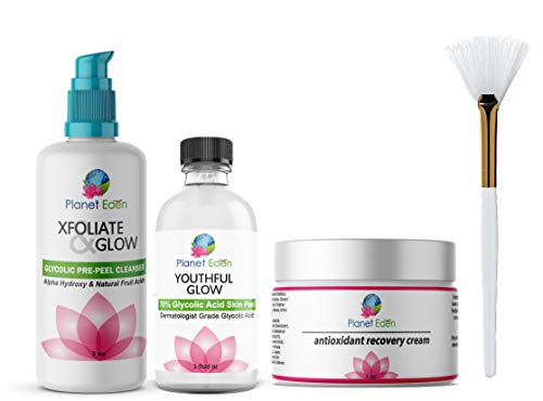 Planet Eden 70% Glycolic Acid Chemical Skin Peel Kit + Glycolic Acid Pre-Peel Cleanser + Antioxidant Recovery Cream + Treatment Fan Brush - Diminish Wrinkles and Sun Damage