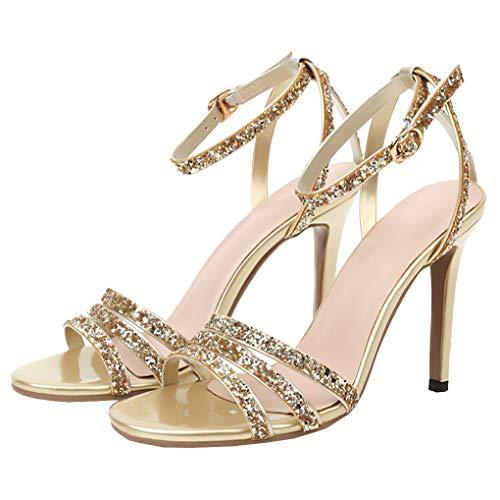 Femany Damen Glitzer High Heels Sandaletten mit Knöchelriemen und Stiletto Sandalen Pailletten Sommerschuhe (Gold,43)