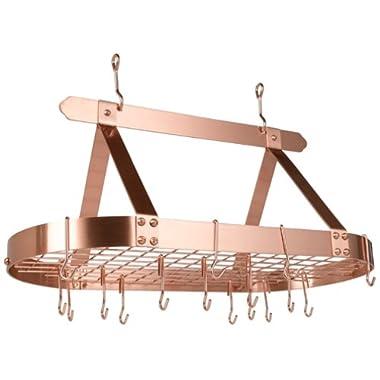 Old Dutch Oval Steel Pot Rack w. Grid & 16 Hooks, Satin Copper, 36  x 19  x 15.5