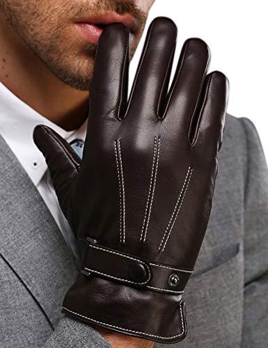 FLY HAWK Winter Handschuhe aus Echtem Leder Herren Lederhandschuhe für Touch Screen geeignet, warm gefütterte klassische Handschuhe mit Druckknopfverschluss Geschenk-Verpackung, Braun, L