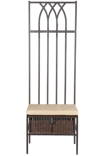 Southern Enterprises Tristan Hall Tree Entry Bench, Dark Brown with Beige Finish