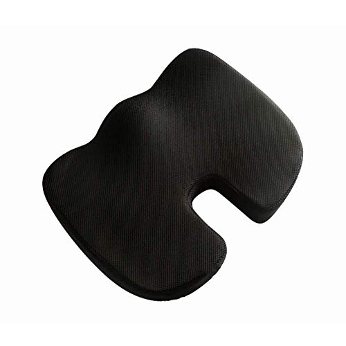 LIYANJIN Memory Foam Office Chair Pad,orthopedic U-shaped Breathable Comfort Beautiful Hip Ergonomics Car Seat Cushion-black 45x35x7cm(18x14x3inch)