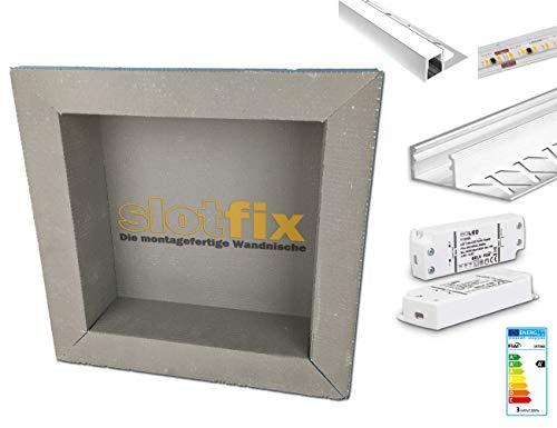 Komplett Set Slotfix Wandnische + LED Beleuchtung mit Aluprofil & Trafo (1x Slotfix 30x30x10 + 1x LED Beleuchtung Set Aluprofil inkl.Trafo)