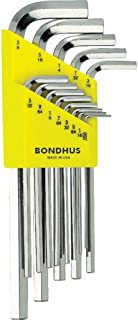 Bondhus 16137 Set of 13 Hex L-wrenches with BriteGuard? Finish, Long Length, sizes .050-3/8-Inch,