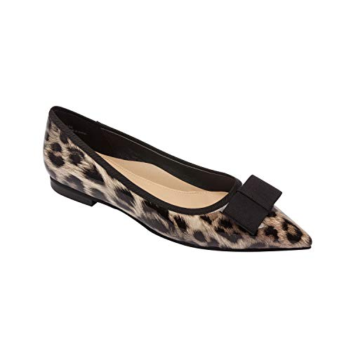 Lani - Pointy Toe Bow Vegan Ballet Flat Fashion Slip On Comfortable Insole Padded Arch Support Leopard Print Vegan Patent 9M