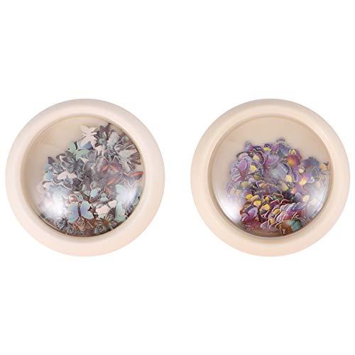 Pixnor 2 Boîtes de Flocons D'ongles de Papillon Breloques de Papillon Vives à Paillettes Colorées pour Nail Art Et Artisanat (Style 2)