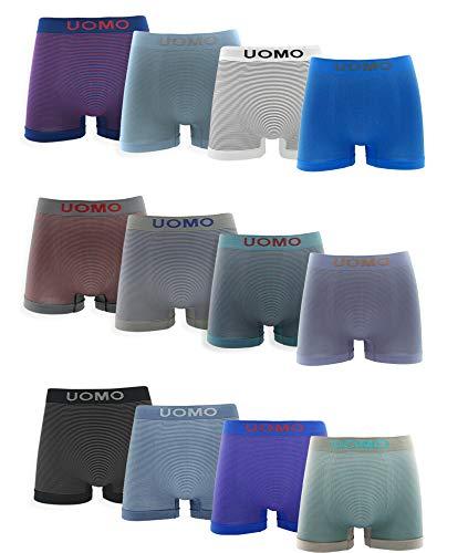 Channo Pack de 12 - Calzoncillos Boxer Lycra sin Costuras con Rayas horizontales (L)