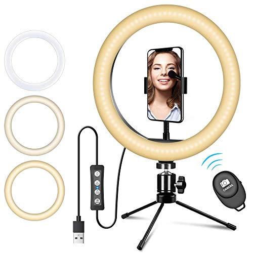 Ring light, Doosl Luce Led Cerchio con Telecomando Bluetooth per Smartphone, Foto, Video, Youtube, TiK Tok, Lampada Anulare Regolabile con 3 Modalita` di Illuminazione e 10 Livelli di Luminosità