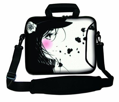 Luxburg® 15,6 Zoll Schultertasche Notebooktasche Laptoptasche Tasche mit Tragegurt aus Neopren für Laptop/Notebook Computer - Manga Mädchen