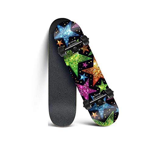 KHSKX Erwachsenes Skateboarding-Anfänger-Skateboarding, geeignet für Outdoor-Sportarten, Jugendliche, Erwachsene, Mädchen, Jungen-Action-bunter Stern