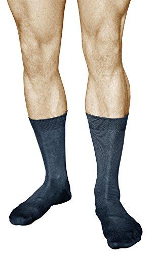 vitsocks Herren Business Socken mercerisierte Baumwolle (3x PACK) casual dünn einfarbig, dunkelblau, 42-43