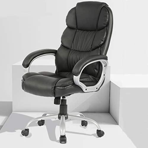 Leather Chair Big and Tall Office Chair, High-Back Ergonomic PU Desk Task Executive Chair Rolling Swivel Chair Adjustable Computer Chair with Lumbar Support Headrest
