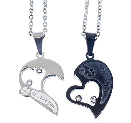 VAGA - Juego de joyas románticas con 2 pares de collares de acero inoxidable a juego en cadenas de plata con colgantes de rompecabezas divididos en forma de corazón en color negro y plateado