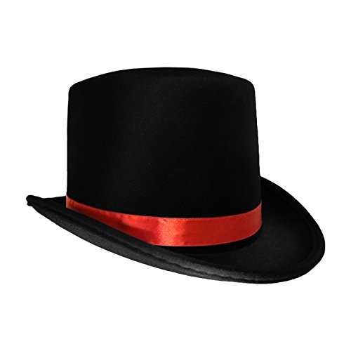 Black Top Hat with Red Band Caroler Snowman Ringmaster Mad Hatter Baron Costume