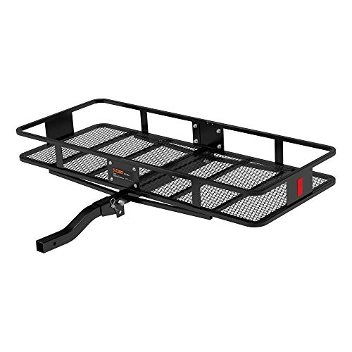 CURT 18153 60 x 24-Inch Basket Hitch Cargo Carrier, 500 lbs Capacity, Black Steel, 2-In Folding Shank