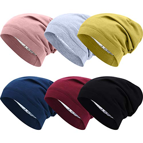satinior 6 pieces satin sleep cap