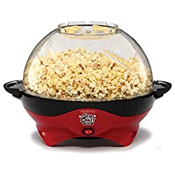 professional West Bend 8231 Crazy Deluxe Electric Hot Oil Popcorn Popper Stir Machine, Red