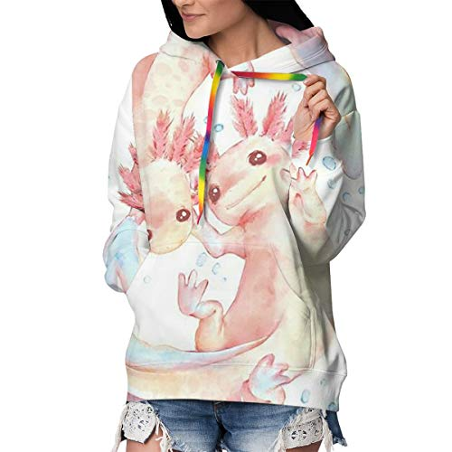 Women & Girls Slim Long Sleeves Sweatshirts Sports Outwear for Exercise Training Date, 3D Printed Hoodie with Kangaroo Pockets (Adorable Axolotl White)