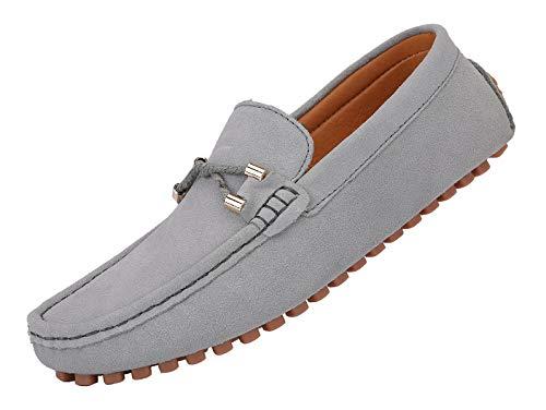 YAER Hombres Clásico Mocasines de Gamuza Zapatos de Conducción Gris EU43