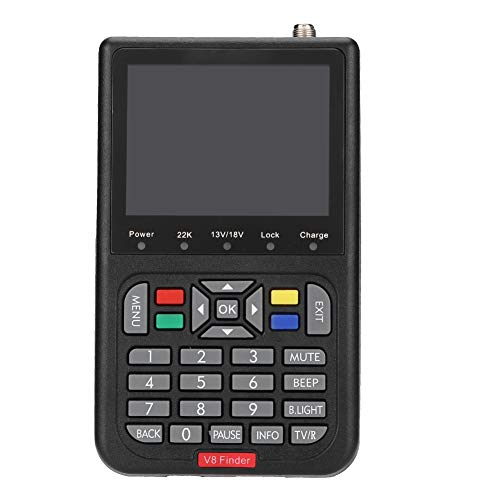 Satellite Signal Finder,DVB-S/DVB-S2/MPEG-2/MPEG4 Digital Satellite Signal Strength Meter Detector with 6000 Channels TV and Radio Programmable,Support Automatic, Manual and Network Search(Black)