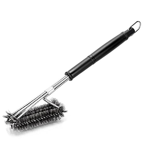 JCL Grill Brush BBQ Cleaning Tool Totally Rust Stainless Steel Grill Accessories with Effective Breaks up Gunk Good Gifts for Barbecue Lover Safe on Steel Porcelan Iron Ceramic