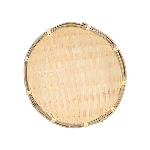 CjnJX-Vases Canasta de Frutas Bandeja de Frutas Bandeja de bambú Tejida a Mano Mini Bandeja de Canasta de Servicio Resistente Multifuncional para Sala de Estar Cocina(El 18cm * los 5cm)