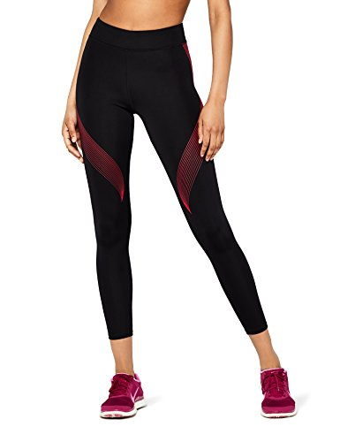 Marca Amazon - AURIQUE Bal181la18 - leggings deporte mujer Mujer, Negro (Black/love Potion), 42, Label:L