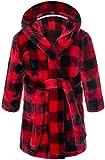 Boys Bathrobes, Toddler Kids Hooded Robes Soft Plush Fleece Pajamas Sleepwear for Boys & Girls (Red Blcak Plaid, Tag 120cm/ 5T)