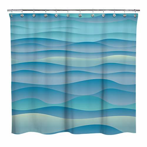 Sunlit Design abstrakte Berge Stoff-Duschvorhänge, Farbverlauf, grau-blau, gestapelte Berge Vorhang für Zuhause Badezimmer Dekor