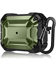 CeMiKa Rugged Armor serie-fodral designat för Airpods Pro fodral, heltäckande hårt skal skyddande fodral med nyckelring för AirPod Pro 2019, främre LED synlig, grön/svart