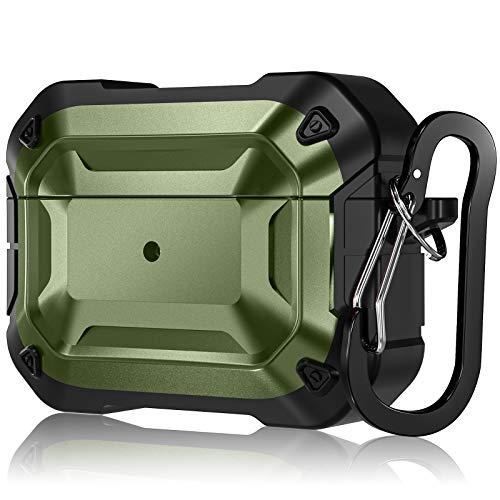 CeMiKa Rugged Armor Series étui Coque Compatible avec Airpods Pro Case Housse,Coque Rigide Protection Coque Compatible avec AirPods Pro 2019 avec Porte clés, Témoin LED Visible, Vert/Noir