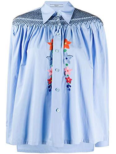 Prada Luxury Fashion Damen P402ERS2011V1GF0ZPY Hellblau Baumwolle Bluse | Frühling Sommer 20