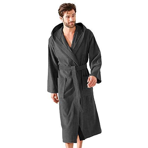 Herren-Bademantel aus 100 % Baumwolle, leicht, für Urlaub, Spa, Fitnessstudio, weich...