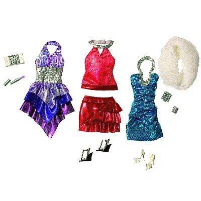 Barbie Mattel - R6818 Accessoire Poupée - Habillage Tendance - 3 Robes - Bleu / Violet / Rouge