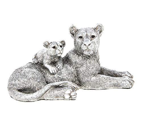 12 cm Vintage Rustic Silver Effect Resin Lioness & Cub Ornament Figurine Statue Sculpture - 12cm x 23cm