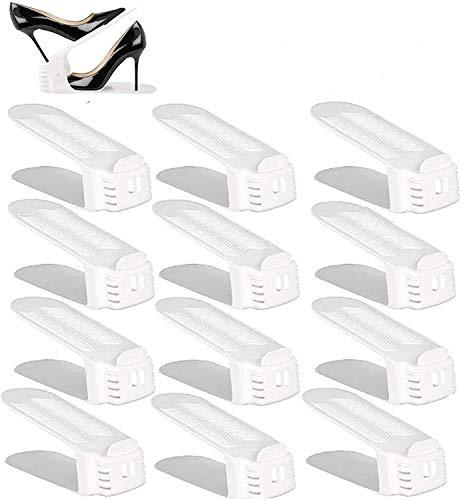 BIGLUFU Set de 12 pcsOrganizadores de Zapatos ,Soporte de Calzado de Ajustable,Adecuada para Mujeres y Hombres, Para ahorrar espacio, (Blanco)