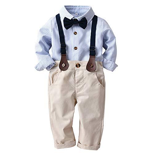 Kleinkind Kleidung Set mit Hosenträgern und Bowknot,4tlg Baby Jungen Bekleidungssets Hemd + Hose + Riemen + Fliege Krawatte,Kinder Anzug Gentleman Festliche Hochzeit Langarm Body für Frühling Herbst